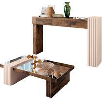 Kit Aparador Para Sala com Mesa de Centro Espelhada Lord Deck Off White - Lyam Decor -