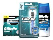 Kit Aparelho Acqua Grip Gillette Mach3 Com 3 Cartuchos + Gel -