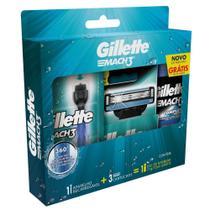 Kit Aparelho de Barbear Gillette Mach3 Acqua Grip c/ 2 Unidades + Gel de Barbear Complete Defense -