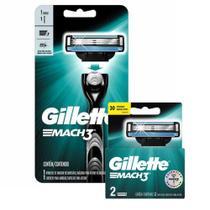 Kit Aparelho de Barbear Gillette Mach3 + Carga Gillette Mach3 com 2 unidades -