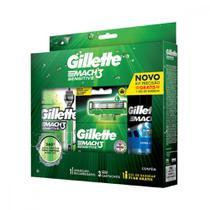 Kit Aparelho de Barbear Gillette Mach3 Sensitive Acqua-Grip 3 Cargas Gel de Barbear Complete Defense 72 ml -
