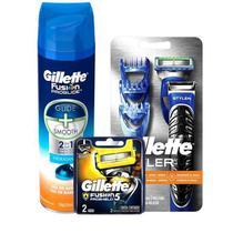 Kit Aparelho de Barbear Gillette Proglide Styler + 2 Cargas Fusion Proshield + Gel Fusion Proglide Hidratante -