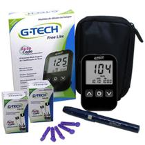 Kit Aparelho De Glicemia Completo + 110 Tiras + 110 Lancetas - G-tech