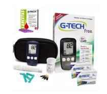 Kit Aparelho De Glicemia Gtech Free No Cod 100 Tiras + 100 LANCETAS - G-Tech