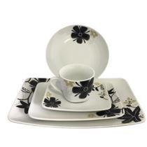 Kit Aparelho de Jantar 5 Peças Porcelana com Detalhe Flores - amigold