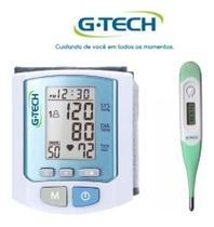 Kit Aparelho De Medir Pressão Digital De Pulso + Termometro - G-Tech
