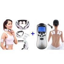 Kit Aparelho De Pescoço Relaxa Os Músculos + Aparelho Massageador Eletroestimulador - Aparelho Fisioterapia Acupuntura Tens E Fes P