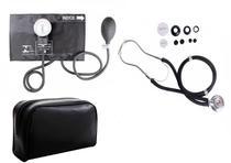 Kit Aparelho De Pressão Com Estetoscópio Rappaport Completo - Preto - Premium