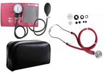 Kit Aparelho De Pressão Com Estetoscópio Rappaport Completo - Vinho - Premium
