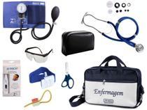 Kit Aparelho De Pressão com Estetoscópio Rappaport Premium Completo - Azul -