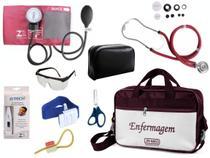 Kit Aparelho De Pressão com Estetoscópio Rappaport Premium Completo - Vinho -