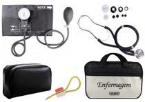 1e40a3b81 Kit Aparelho de Pressão com Estetoscópio Rappaport Premium Preto + Bolsa  JRMED + Garrote Exclusivo JRMED