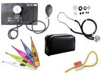 Kit Aparelho de Pressão com Estetoscópio Rappaport Premium Preto + Termômetro Digital + Garrote Exclusivo JRMED -