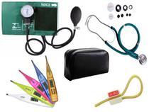 Kit Aparelho de Pressão com Estetoscópio Rappaport Premium Verde + Termômetro Digital + Garrote Exclusivo JRMED -