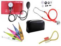 Kit Aparelho de Pressão com Estetoscópio Rappaport Premium Vermelho + Termômetro Digital + Garrote Exclusivo JRMED -
