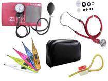 Kit Aparelho de Pressão com Estetoscópio Rappaport Premium Vinho + Termômetro Digital + Garrote Exclusivo JRMED - Incoterm