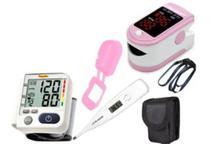 Kit Aparelho De Pressão De Pulso + Oximetro + Termometro - Premium