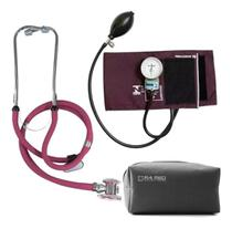 Kit Aparelho de Pressão Esfigmomanômetro + Estetoscópio Rappaport P.A.Med - Vinho - P. A. Med