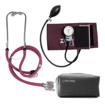 Kit Aparelho de Pressão Esfigmomanômetro + Estetoscópio Rappaport P.A.Med - Vinho - PAMED
