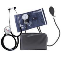 Kit Aparelho de Pressão Esfigmomanômetro Nylon e Fecho de Metal + Estetoscópio Premium - Gtech