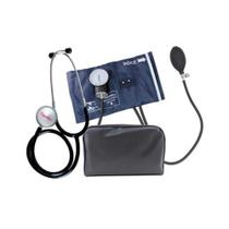 Kit Aparelho de Pressão Esfigmomanômetro Nylon e Fecho de Metal + Estetoscópio Premium -