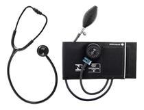 Kit Aparelho de Pressão Esfigmomanômetro Nylon + Estetoscópio Duplo BIC - Preto -