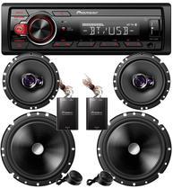 Kit Aparelho de Som Pioneer automotivo Bluetooth + Falante 6 Polegadas + kit 2 vias 6 Pol Completo -