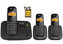 Kit Aparelho de Telefone Fixo de Mesa sem fio Bina e 2 Ramal - Intelbras