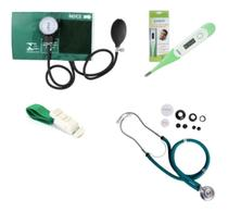 Kit Aparelho Medidor De Pressão + Estetoscópio + Garrote + Termômetro - Premium