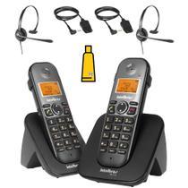 Kit Aparelho Telefone Fixo sem fio Com ramal Bina 2 Headset - Intelbras