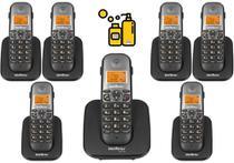 Kit Aparelho Telefone Fixo sem fio de mesa Com 6 Ramal Bina - Intelbras
