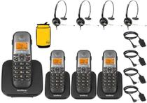 Kit Aparelho Telefone Sem Fio Fixo Bina 3 Ramal e Headset - Intelbras