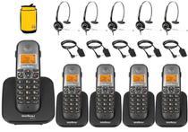 Kit Aparelho Telefone Sem Fio Fixo Bina 4 Ramal e Headset - Intelbras