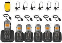 Kit Aparelho Telefone Sem Fio Fixo Bina 5 Ramal e Headset - Intelbras