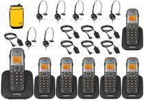 Kit Aparelho Telefone Sem Fio Fixo Bina 6 Ramal e Headset - Intelbras