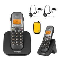 Kit Aparelho Telefone Sem Fio Fixo Bina Com Ramal e Headset - Intelbras