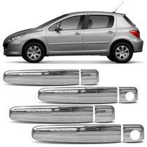 Kit Aplique Capa Maçaneta Externa Citroen C3 2003 a 2011 Peugeot 307 2001 a 2012 Cromado 4 Portas - Shekparts