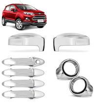 KIT Aplique Cromado Retrovisor Maçaneta Farol de Milha Ford Ecosport 13 14 15 16 17 - Shekparts