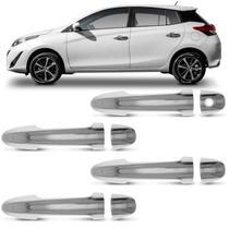Kit Aplique da Maçaneta Toyota Yaris Hatch Sedan 2018 2019 2020 Cromado com Furo 4 Portas - Carliza