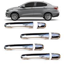 Kit Aplique de Maçaneta Fiat Cronos 2018 2019 2020 Cromado sem Furo Keyless 4 Portas - Carliza