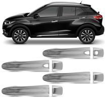 Kit Aplique de Maçaneta Nissan Kicks 2017 2018 2019 2020 Cromado com Furo Keyless 4 Portas - Carliza