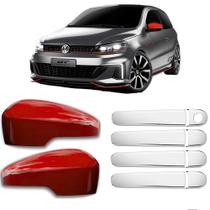 KIT Aplique Retrovisor Vermelho c/Furo para Seta Aplique Cromado Maçanetas Volkswagen VW Gol G6 G7 - Shekparts