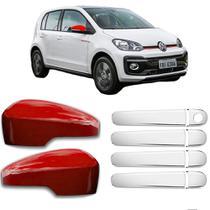 KIT Aplique Retrovisor Vermelho c/Furo para Seta Aplique Cromado Maçanetas Volkswagen VW UP 2014 à 2020 - Shekparts