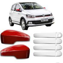 KIT Aplique Retrovisor Vermelho c/Furo Seta Aplique Cromado Maçanetas Volkswagen VW FOX 2010 à 2020 - Shekparts