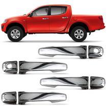 Kit Apliques Cromados de Maçaneta Mitsubishi L200 Triton 2008 a 2019 4 Portas Encaixe Sob Medida - Shekparts