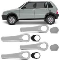 Kit Apliques Cromados Maçaneta Fiat Uno 2001 a 2010 4 Portas Acabamento Impecável Encaixe Perfeito - Shekparts