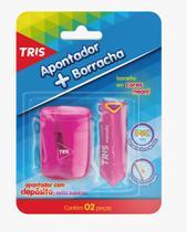 Kit Apontador Com Depósito e Borracha Escolar  Tris Trio -