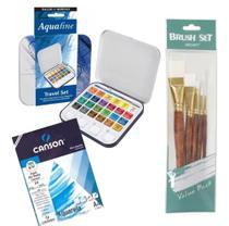 Kit Aquarela Pastilha 24 Cores + Bloco Canson + 5 Pinceis - Pixel Art Books