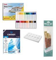 Kit Aquarela Pentel 24 Cores + Pincel + Bloco + Gode - Pixel Art Books