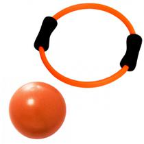 Kit Arco Alaranjado Anel Flexivel para Pilates + Over Ball 25 Cm  Liveup -